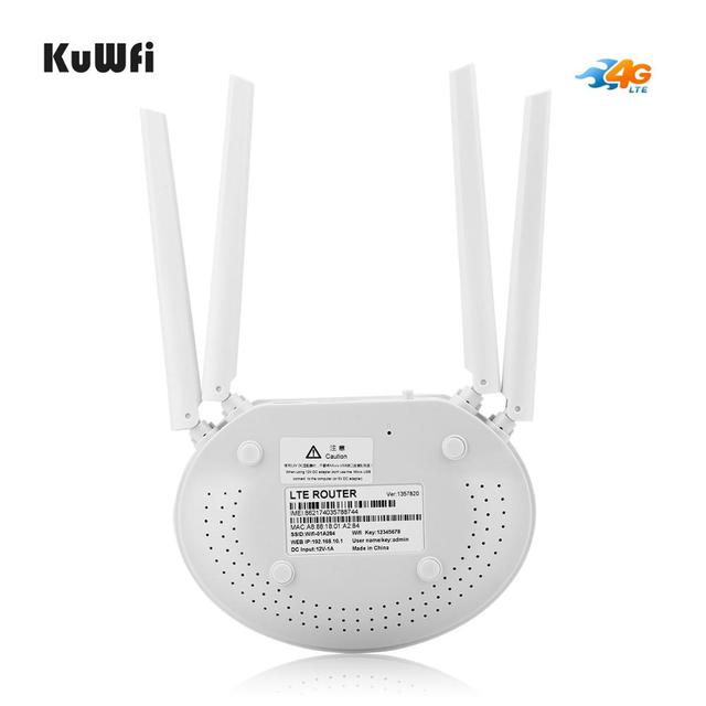 KuWfi 4G LTE Router 300 mb/s bezprzewodowy CPE 3G/4G LTE mobilny Hotspot Wifi z gniazdo karty Sim i 4 szt. Antena zewnętrzna do 32 użytkowników