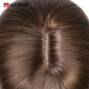 Image 5 - Wignee wysokiej temperatury włókna peruki syntetyczne proste dla kobiet średni rozmiar średni brąz kobiety peruka z grzywką peruki z naturalnych włosów
