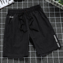 Men  cotton linen Leisure Five point Pants casual shorts beach casual sports shorts Loose Comfortable Summer Japanese five point star print drawstring casual pants