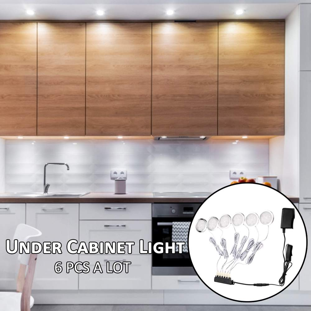 100-240V 2.5W 6 Round LED Under Cabinet Closet Light Aluminum LED Display Case Lights For Kitchen Counter Cupboard Puck Lights