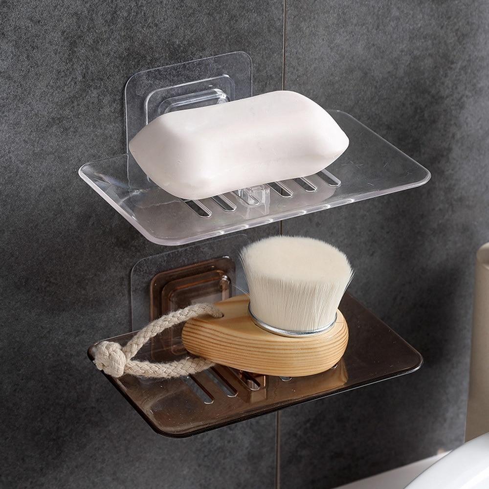 Wall Soap Dish Drain Sponge Holder Organizer Adhesive Kitchen Storage Rack Shelf