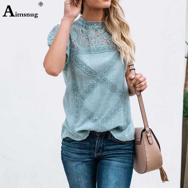 Ha89f2351e2a541029298fafcd103aabeK - Aimsnug Women White Elegant T-shirt Lace Patchwork Female O-neck Hollow Out Shirt Summer New Solid Casual Women's Tops