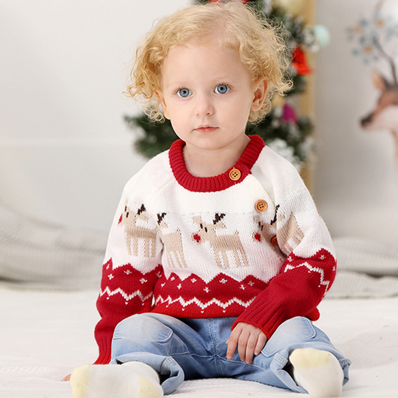 2020 Autumn Winter Boy Girl Christmas Elk Long Sleeve Cartoon Knitted Sweater Boys Girls Sweaters For Baby Girls Kids Sweaters