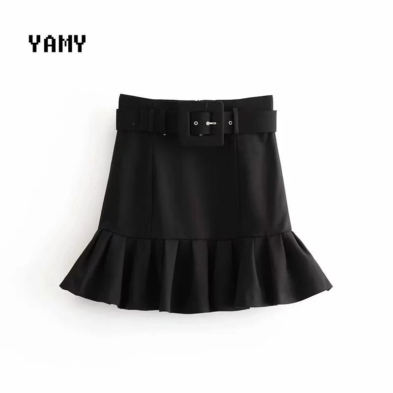 New Womens Belt Suit Skirt Zora Vicky Womens Office Ruffles Skirt Faldas High Waist Slim Sashes Mini Skirt Za Skirt Black 2020