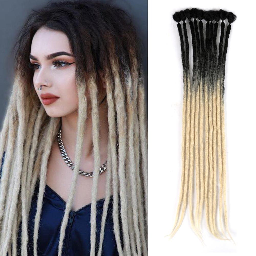 Mtmei Hair Handmade Dreadlocks Hair Extensions Reggae Hair Hip-Hop Style Faux Locs Crochet Hair 1 Strands/7g/Pack Crochet Braids