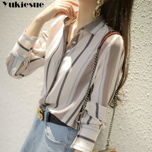 summer long sleeve striped women's shirt blouse for women blusas womens tops and blouses chiffon shirts ladie's top plus size 3