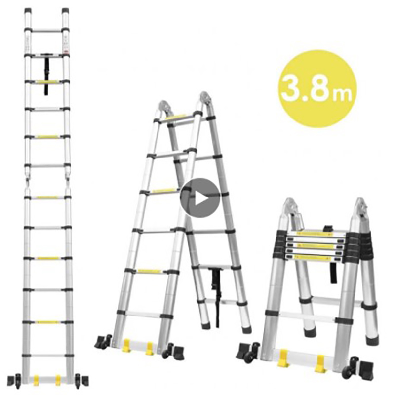 Foldable Telescopic Ladder Safely Extend Aluminum Alloy Tool Space-saving Tools Multifunctional Retractable Straight Ladder HWC