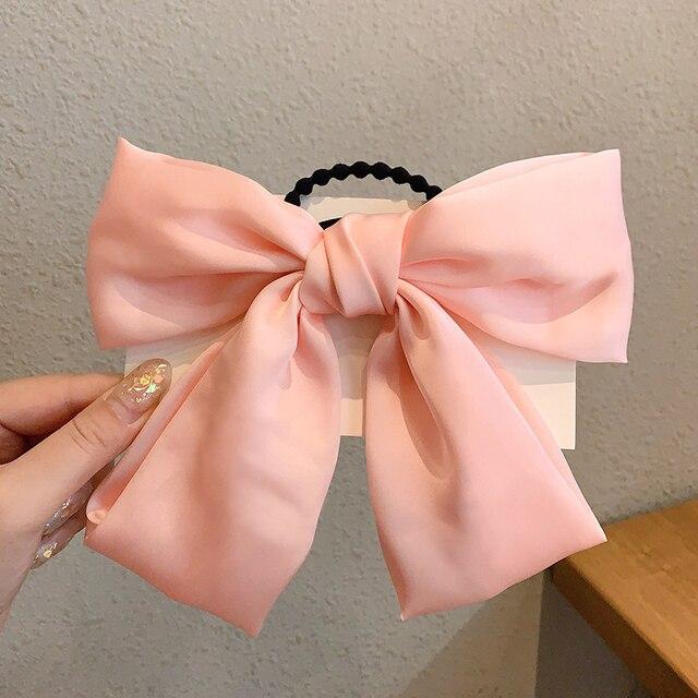 IFMIA Korean Bow-Knot Elastic Hair Bands Accessories Fashion Hair Band Long Ribbon Bow Ponytail Hair Tie Scrunchies Women Girls 6