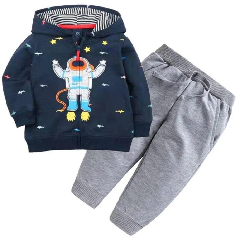 Одежда для маленьких девочек пальто с капюшоном с длинными рукавами и вышитым единорогом+ штаны, г. Весенняя одежда для маленьких мальчиков комплект для малышей, одежда для малышей - Цвет: 3
