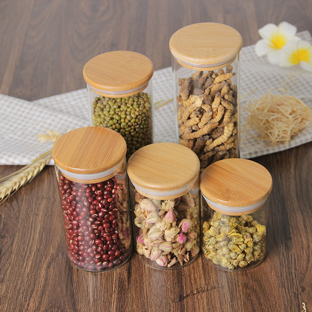 Food Storage Glass Jar No Lead  Kitchen Storage Bottles Sealed Cans with Cover Large Capacity  Candy Glass Jars Tea Box H10560 4