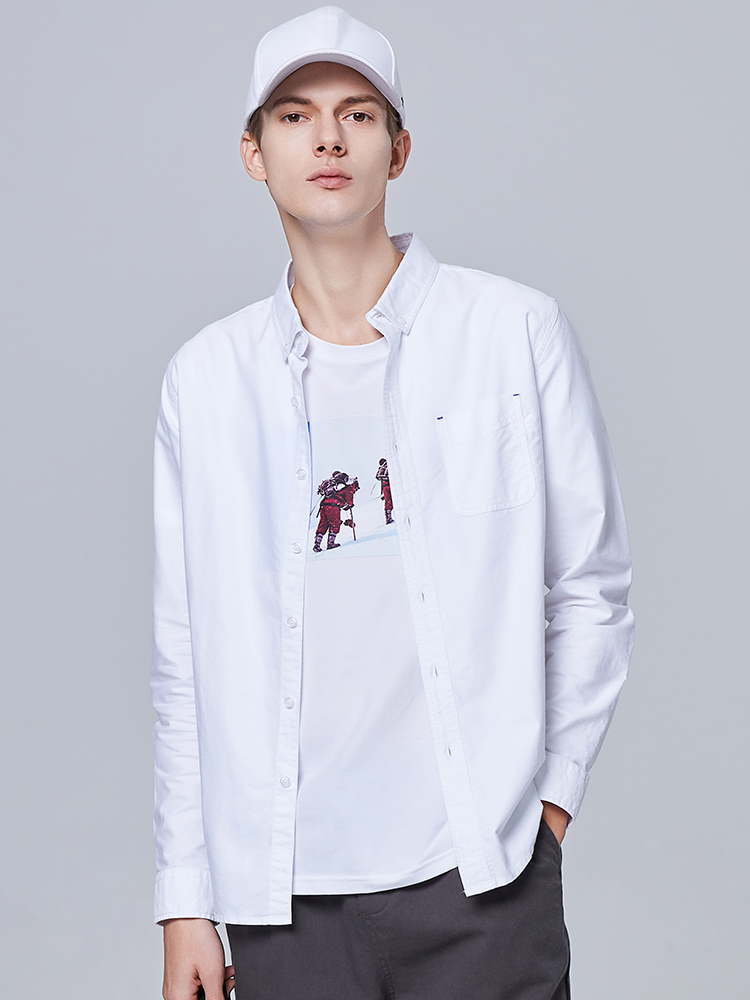 Oxford-Shirt Camp Spring Male Casual Mens Summer Basic Solid Cotton Pioneer Tops ACC0207151
