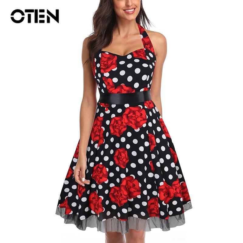 Oten 4xl vestido de festa feminino impressão swing crânio floral rendas retalhos polka dot retro vintage rockabilly vestido de verão roupas