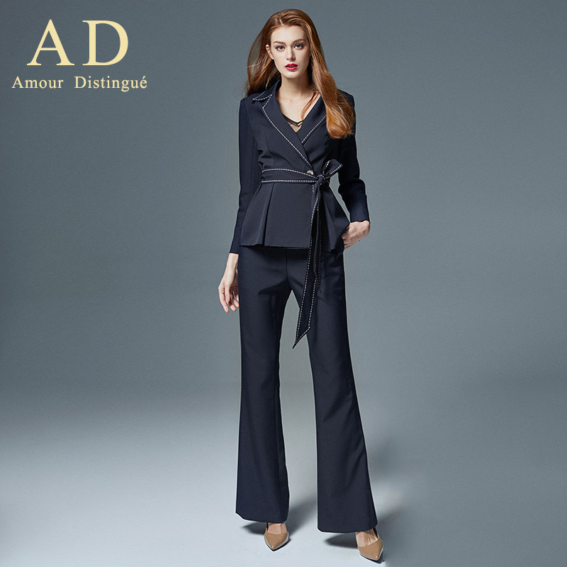 Women S Office Suits Set Professional Female Business Lady Suit Plus Size Navy Blazer Pant  Designer Tailor Made 2019 Free Ship
