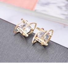 Korean Square Zircon Stud Earrings Exquisite Pierced Horns Personality Simple Jewelry christmas earrings