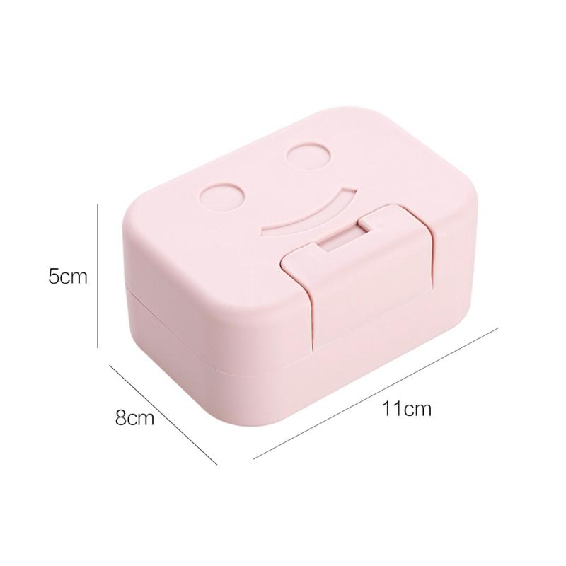 Smile Face Shape Sealed Portable Soap Box With Lid Bathroom Toilet Travel Soap Storage Dishes Box Soap Holder Storage Container