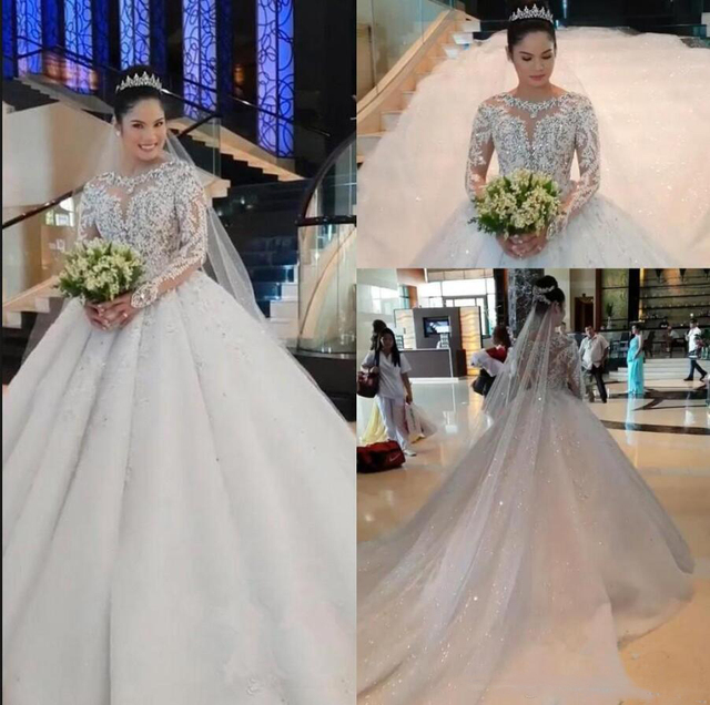 New Luxury Lace Ball Gown Wedding Dresses Long Sleeves Beaded Appliques Jewel Neck Court Train Wedding Bridal Gowns Custom Made 3