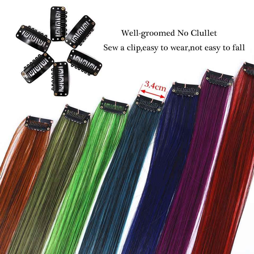 MANWEILong düz vurgulamak saç uzatma için renk klibi gökkuşağı saç ipliklerini pembe postiş sentetik peruk saç çizgi