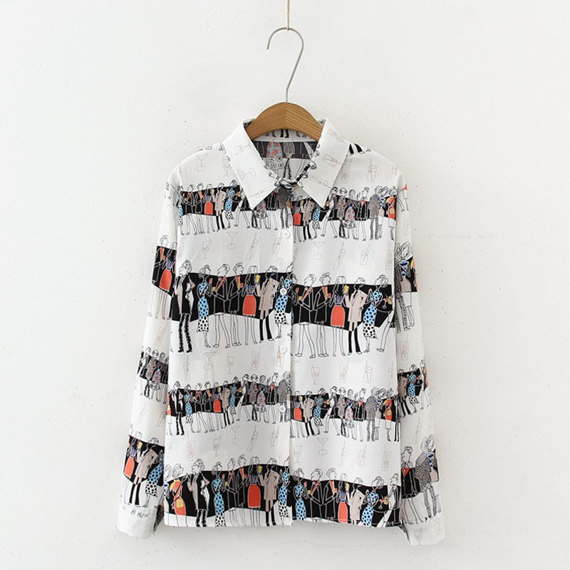 Cartoon Print Blouse Women Vintage Lapel Shirt Loose Single-breasted Blouses Long Sleeve Blusas Mujer De Moda