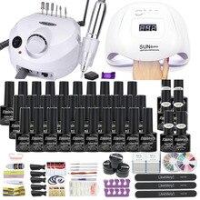 Manicure Set Met Led Nagel Lamp 120W Nail Set 30/20/10 Kleur Uv Gel Nagellak Kit Tools set Met Nail Boor Machine Nagelvijlen