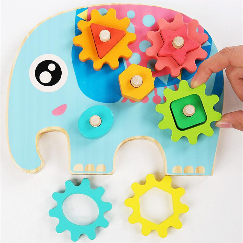 Children's Educational Toy Geometric Shape Matching and Inserting Building Blocks Wooden Gear Set Column Puzzle Toy Gifts