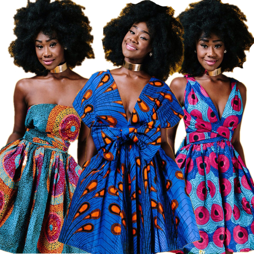 2019News Floral National Print African Dresses For Women Evening Party Pleated  Noble Dashiki Bazin African Clothes Riche Female
