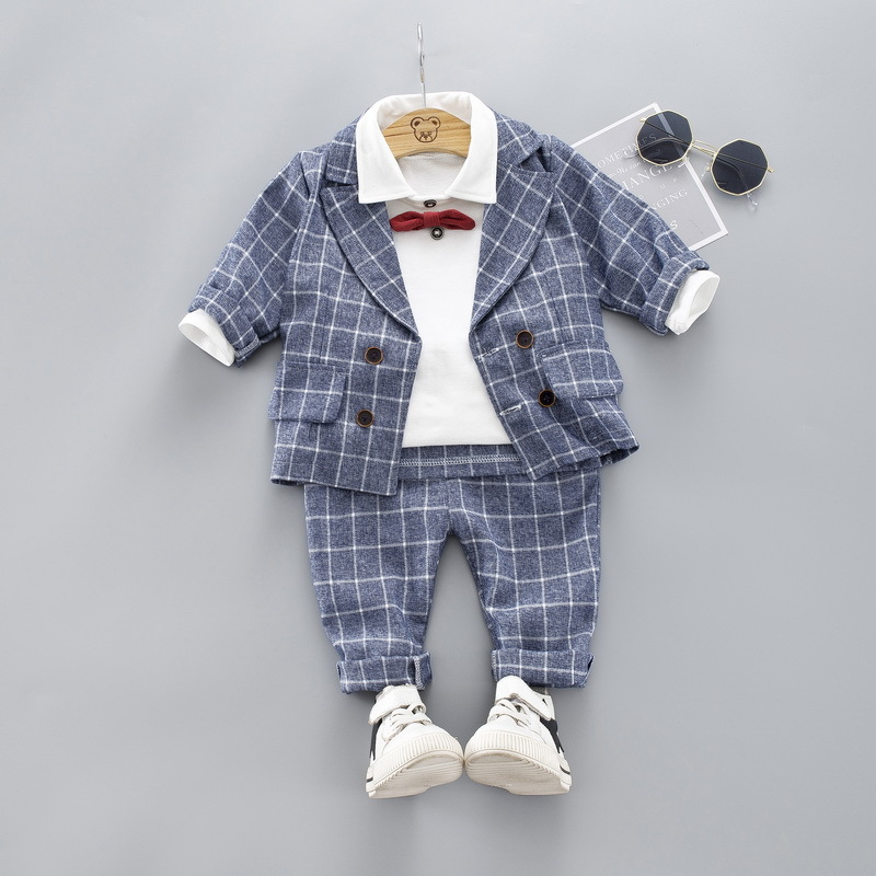 HYLKIDHUOSE Baby Boys Clothing Sets Toddler Infant Clothes Suits 2019 Autumn Plaid Jacket T Shirt Pants Child Casual Costume