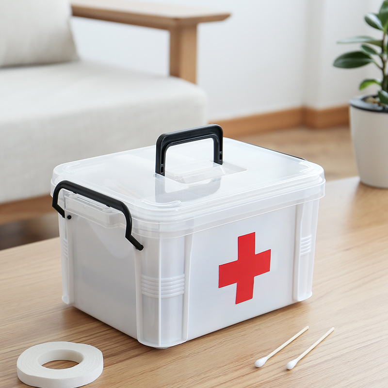 Small First Aid Kit Household Transparent Medicine Box Large Capacity Layered Lattice Medicine Storage Box Trash Home Medical