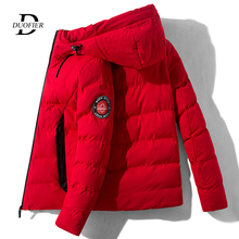 Moda marka mężczyźni kurtka wiatrówka z kapturem 2020 jesień zima mężczyzna ciepła kurtka Bomber Trend Streetwear codzienna odzież wierzchnia płaszcze tanie tanio CN (pochodzenie) zipper REGULAR Grube NONE Poliester Stałe Kieszenie Na co dzień COTTON STAND Konwencjonalne