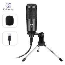 Cella novo m1 pro usb microfone condensador 192khz/24-bit para computador portátil voz podcasting youtobe mic suporte