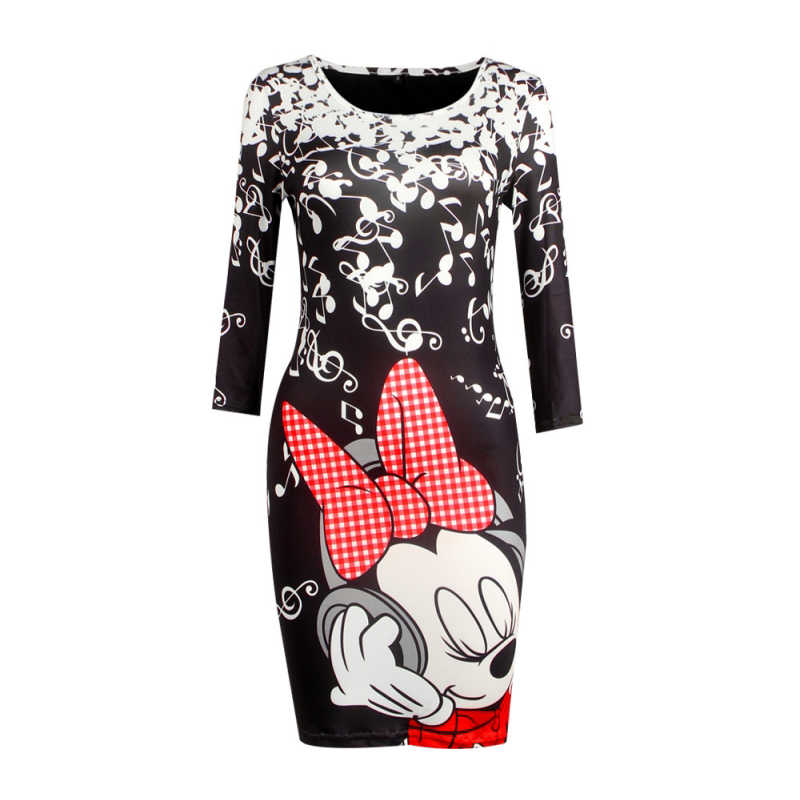 2019 Повседневная Женская одежда, стильное и элегантное мини-платье с короткими рукавами и круглым вырезом на бедрах, сексуальное шикарное платье с 3D Микки Маусом