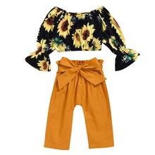 Girl Sunflower Tops Long Sleeve Pants 2PCS Casual Outfits Sets Spring Autumn Toddler Kids Baby Girls Clothes Sets 9M-4T стоимость