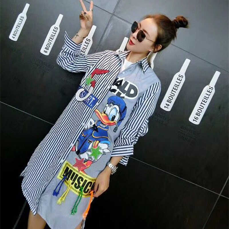 Europese Nieuwe Designer Lange Shirts Print Patchwork Losse Shirts Leuke Cartoon Applicaties Lovertjes Stripped Casual Blouses HF286