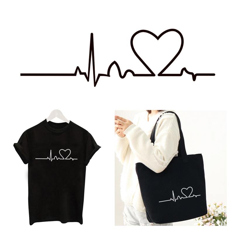 3-Pack, Iron on Electrocardiogram EKG and Heart Applique Patch