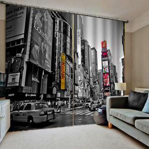 Zasłony zaciemniające w stylu amerykańskim 3D czarno-białe zdjęcie retro zasłony nowoczesne zasłony do salonu