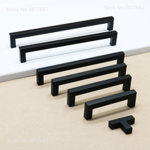 Black Cabinet Handle Square Furniture Hardware Stainless Steel Kitchen Door Knobs Cupboard Wardrobe Drawer Pulls