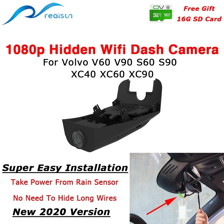 Автомобильный видеорегистратор Realsun 1080P с Wi-Fi, видеорегистратор с двойной камерой, простая установка для Volvo V40 V60 V90 S60 S90 XC40 XC60 XC90