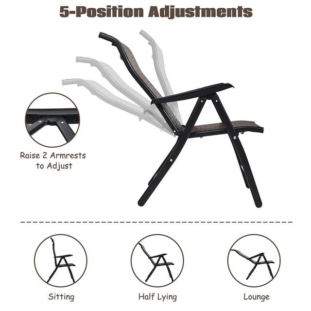 2 Piece Patio Rattan Folding Reclining Chair  3
