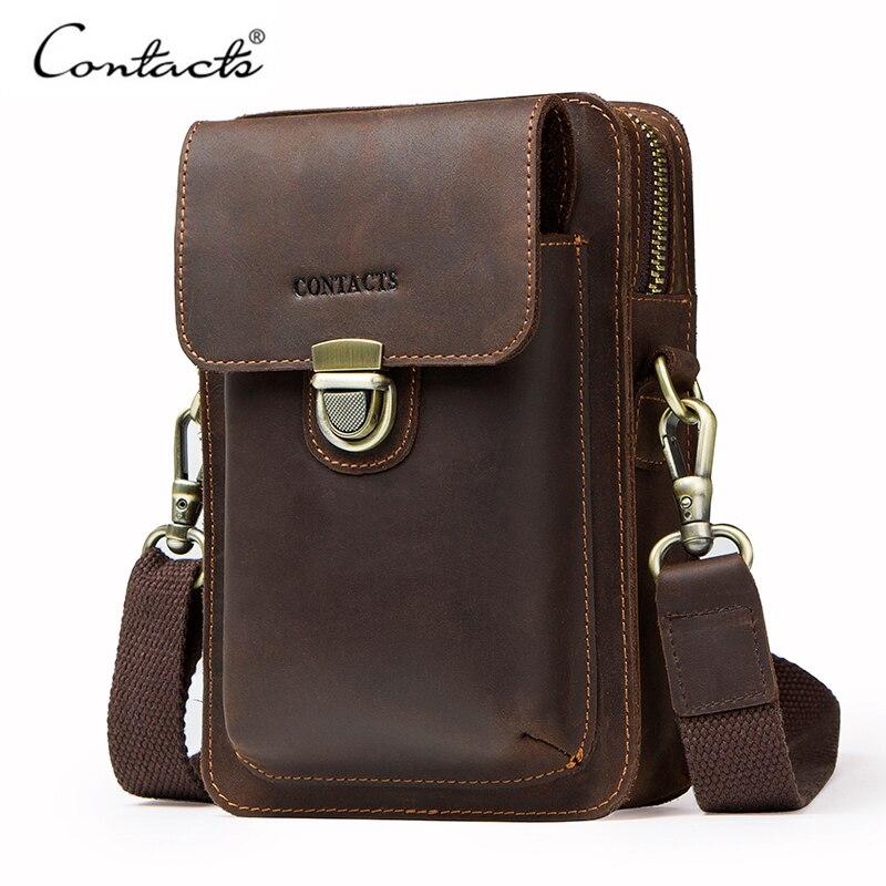Men's Genuine Leather Waist Pack Vintage Male Shoulder Bag Travel Cell Phone Bag With Zipper Pocket Card Holder
