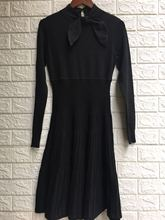 Fall 2019 New Womens Butterfly Knot Slim Knitted Dresses Straight Black Sexy Dress Women