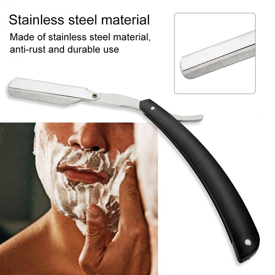 Men Straight Barber Edge Razors Folding Shaving Knife Hair Removal Tools Shave Beard Cutter Holder(No Blade)