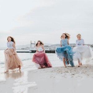 Image 3 - 4 schichten 100cm bodenlangen Röcke für Frauen Elegante Hohe Taille Gefaltete Tulle Rock Brautjungfer Ballkleid Brautjungfer Kleidung