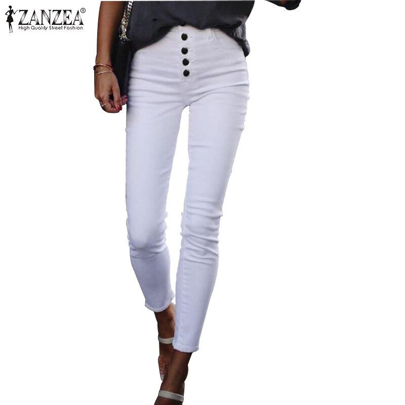 ZANZEA 2020 Summer Women Pants Casual Solid Buttons High Waist Trousers Elastic Bottoms Harem Pantalones Streetwear Oversized