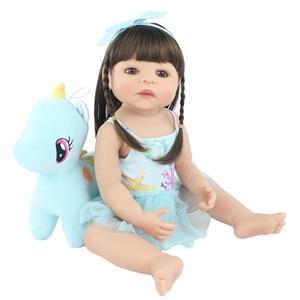 55cm Full Silicone Reborn Baby Doll Toy Vinyl Princess Unicorn Babies Girl Bathe Dress Up Toy Kids Birthday Gift Kid Play House(China)