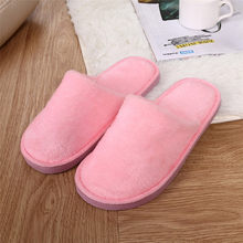 Women Plush Flock Shoes Slippers Solid Warm Home Unisex Soft Slippers Indoors Anti-slip Winter Floor Bedroom Slip-On Femme 30(China)