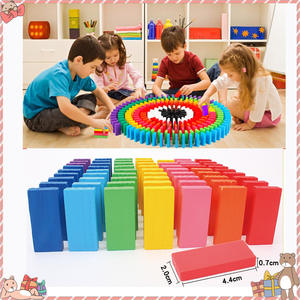 Dominoes-Games Wooden Play Educational Kids Children Coloured Toy Study-Toys Tumbling