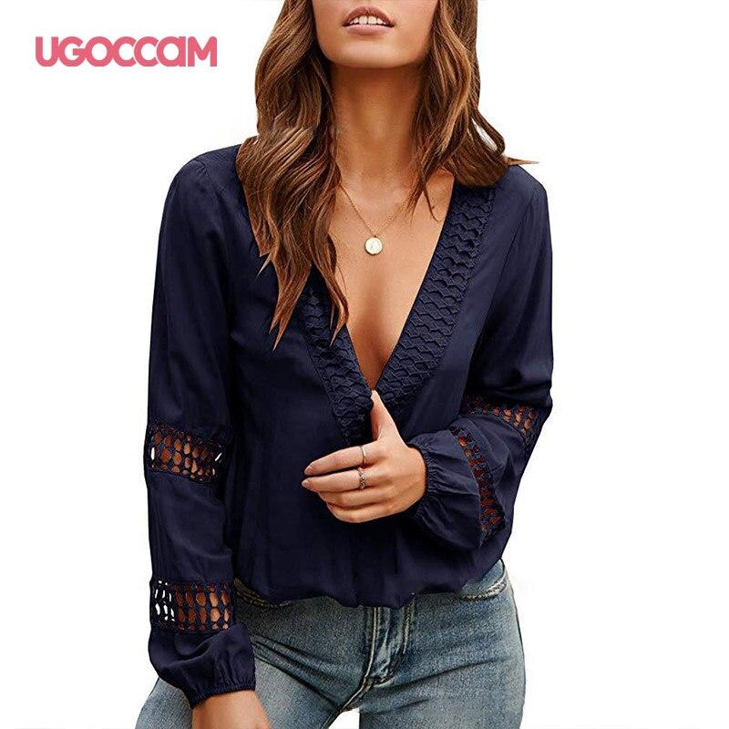 UGOCCAM Office Ladies Shirt Work Hollow Out Long Mesh Sleeve Shirt Women Top Elegant Women Mesh Casual Minimalist Tops T Shirt on AliExpress