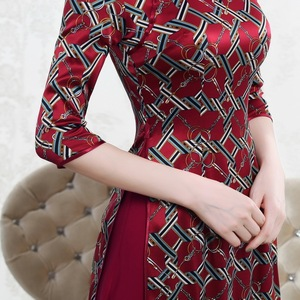 Image 3 - Quinceanera Promotion Knee length High Autumn 2020 New Chinese Knot Silk Cheongsam Fashion Improved Retro Aodai Dress Woman