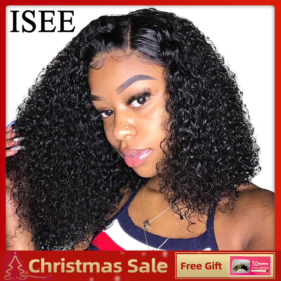 ISEE HAIR Bob Lace Front Wigs For Women Remy Lace Front Wig Curly Bob 360 Lace Frontal Wig Brazilian Curly Short Human Hair Wigs