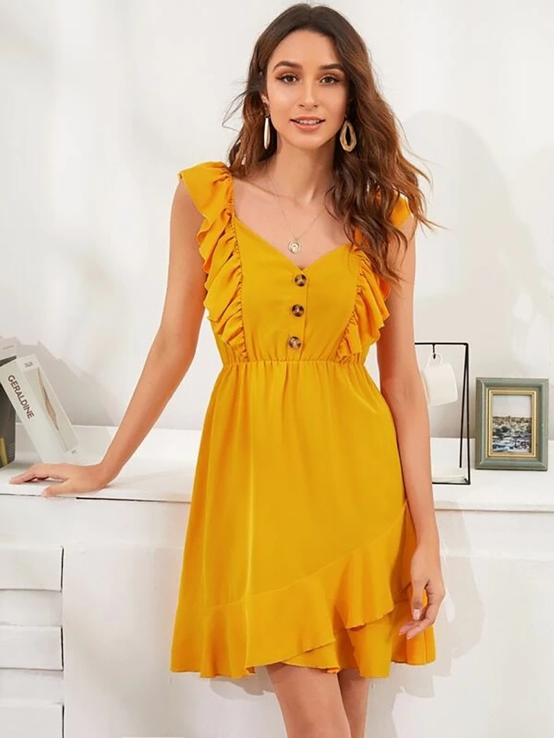 Summer Women Elegant Dress Ruffle Stitching Backless Tank Mini Dresses Button Yellow Fitted Clothing 2020 Women Clothes Vacation