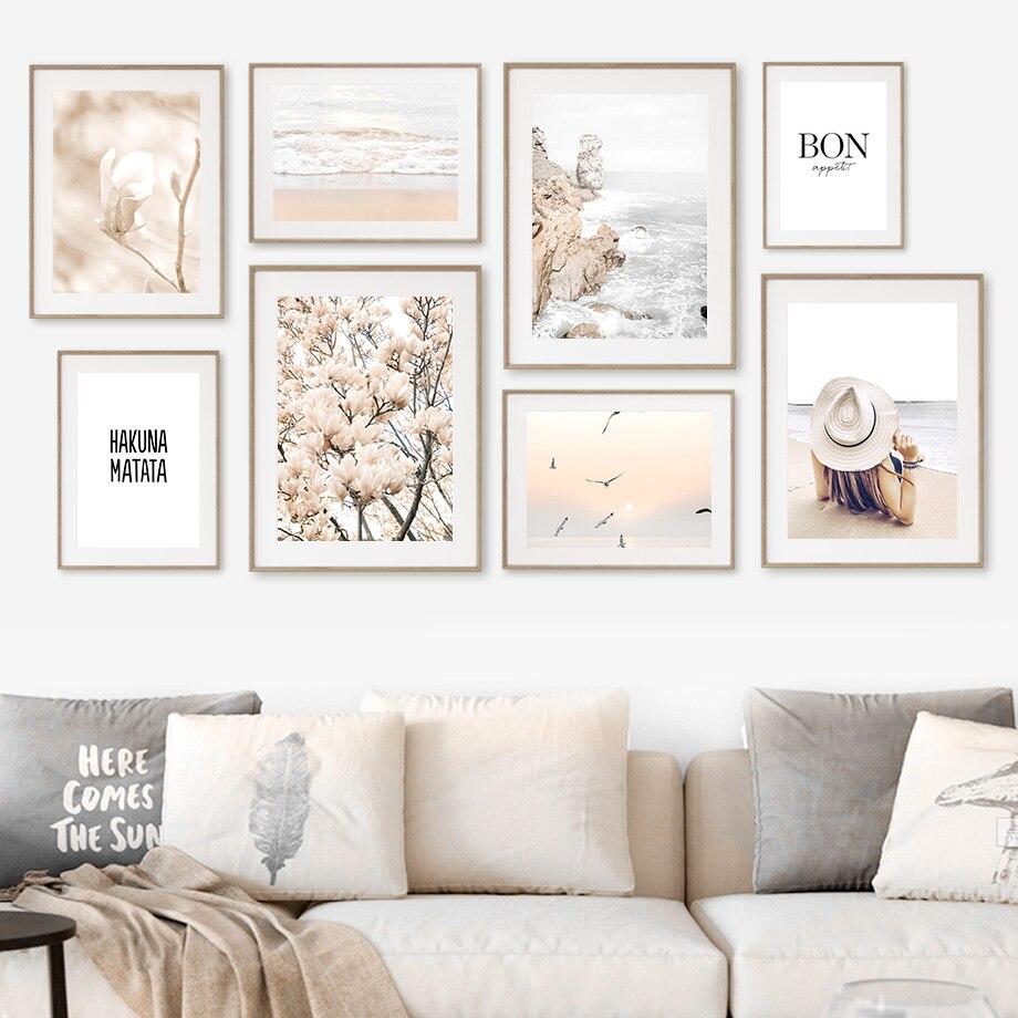 Пляжные волны бегония цветы женские весенние настенные художественные картины холст скандинавские постеры и принты настенные картины для ...
